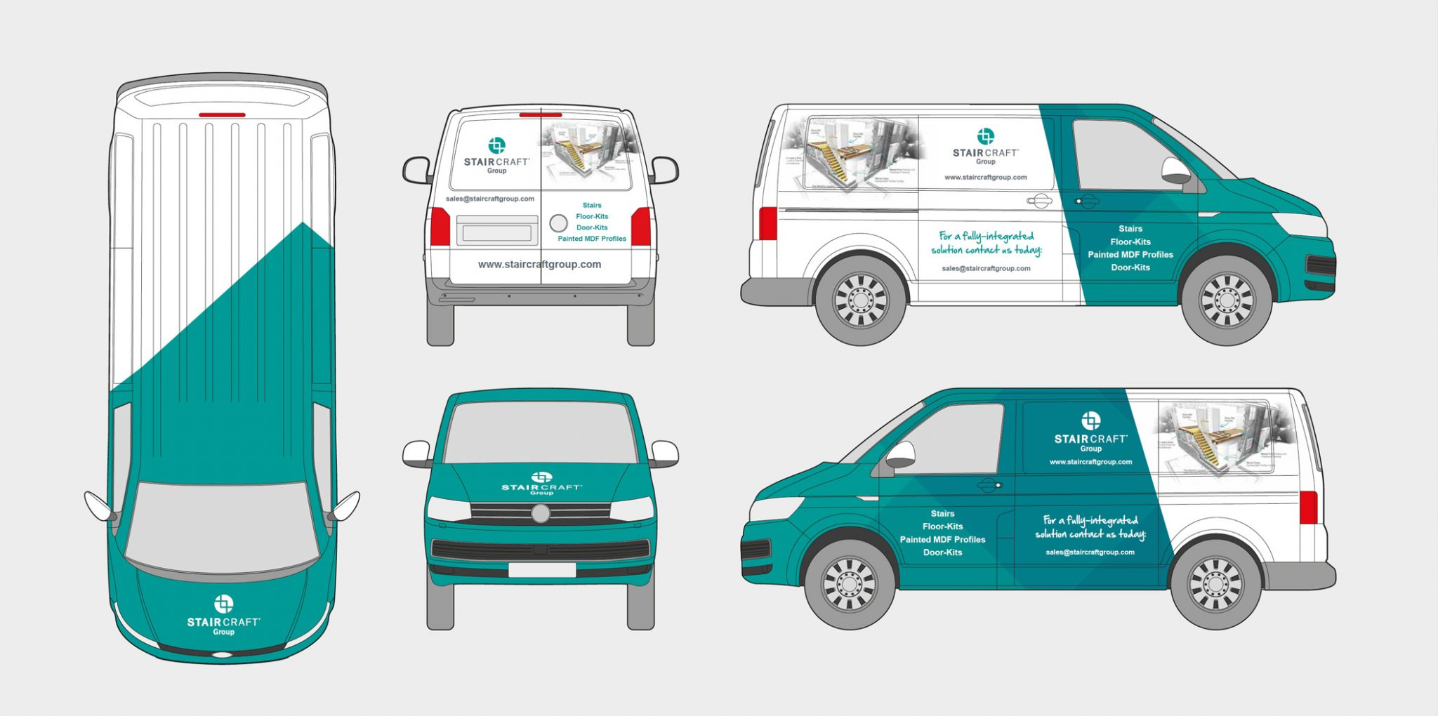 car with print sticker and business name stair craft