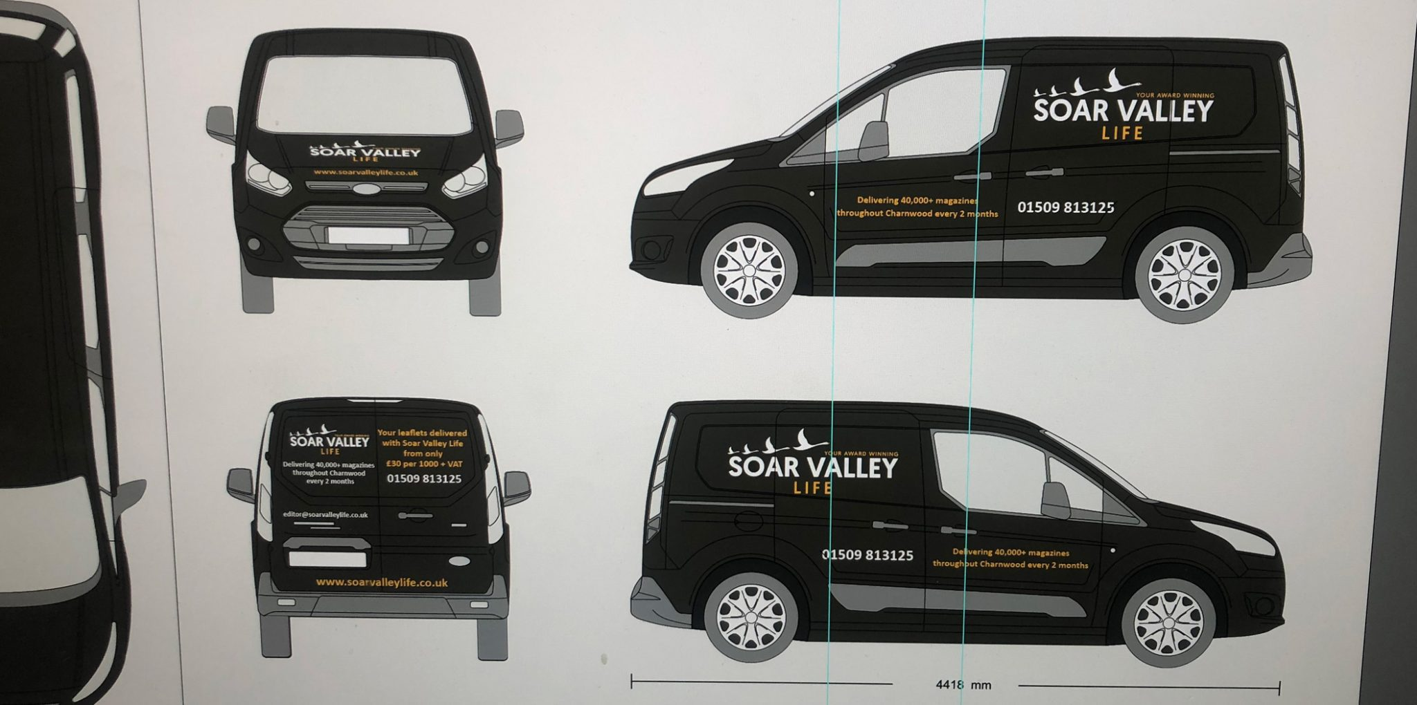 car with print sticker with business name soar valley