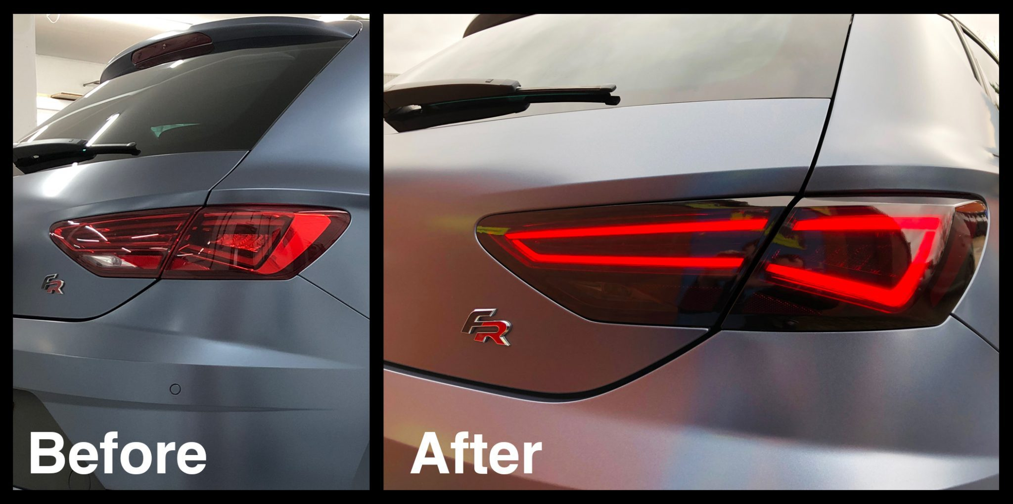 car t light with image of before and after