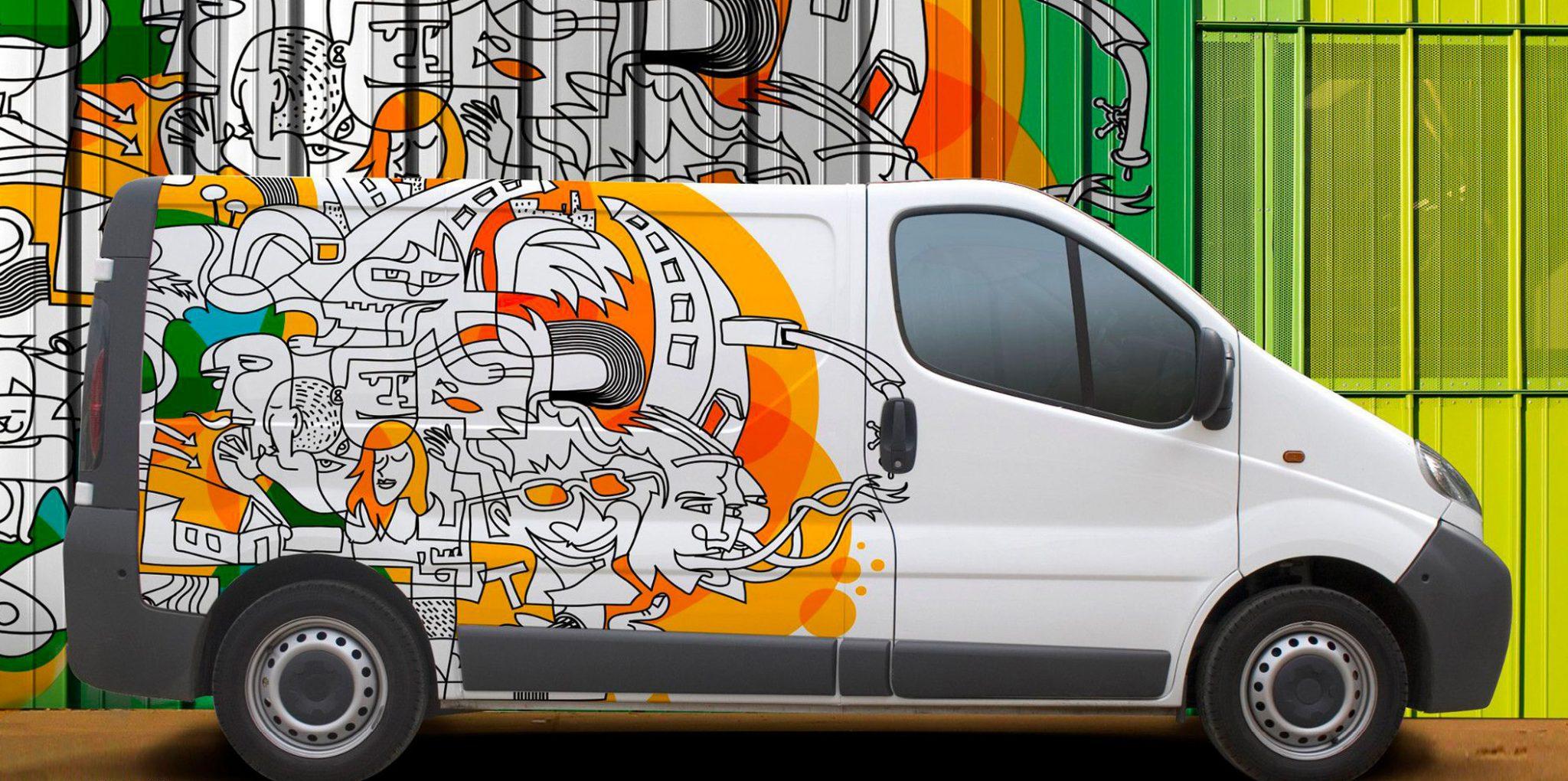 white van with graffiti sticker