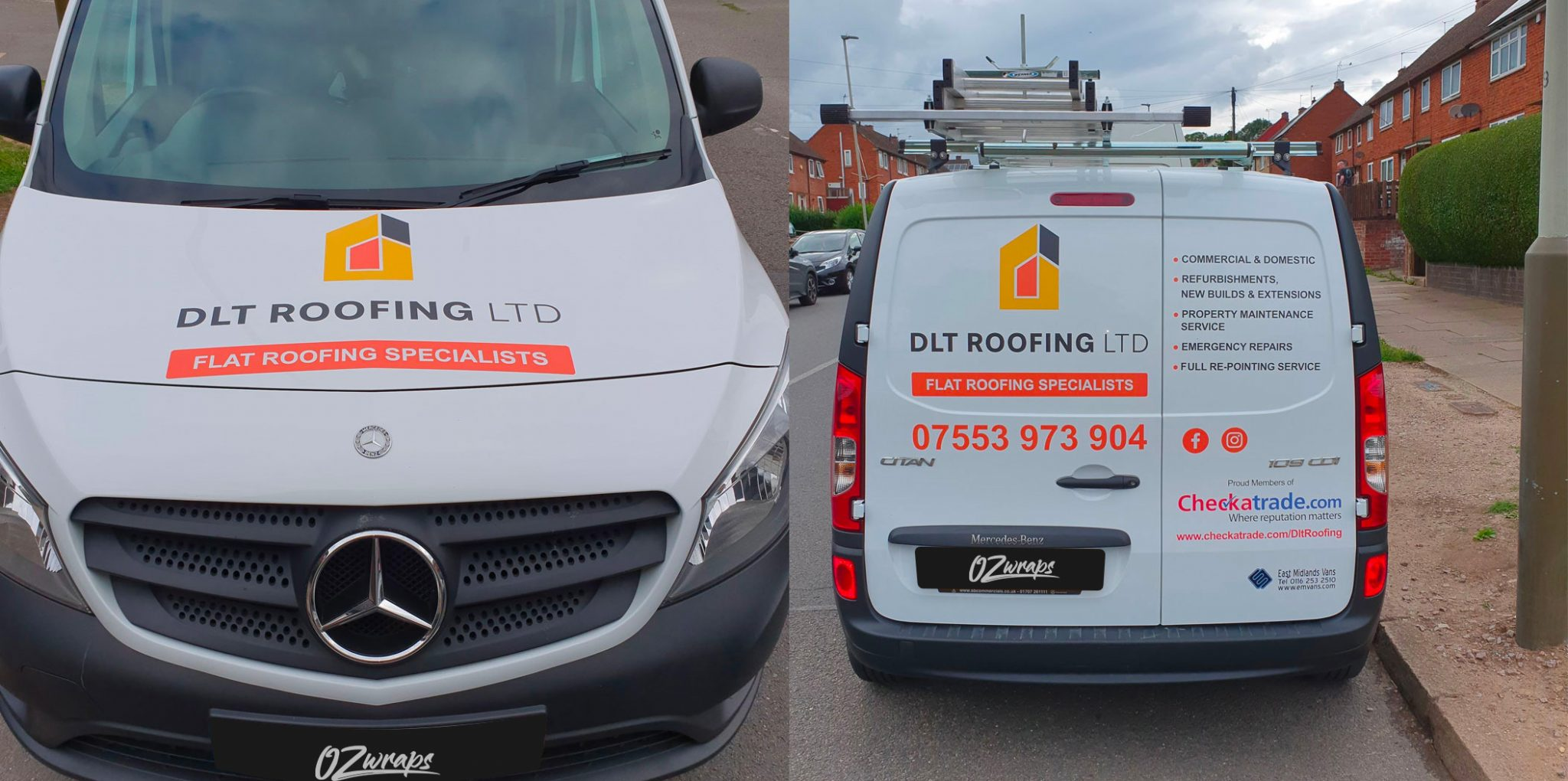 DLT Roofing number and plates stickers
